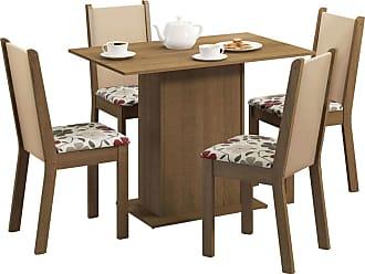 Madesa Sala de Jantar Madesa Caren e 4 cadeiras Marrom