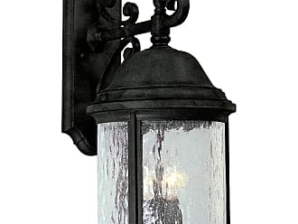 PROGRESS P5651-31 Three-light wall lantern in Textured Black finish with water seeded glass