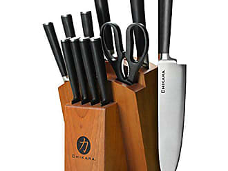 Quikut Ginsu Gourmet Chikara Series Forged 12-Piece Japanese Steel Knife Set - Cutlery Set with 420J Stainless Steel Kitchen Knives - Finished Hardwood Block, 07132DS