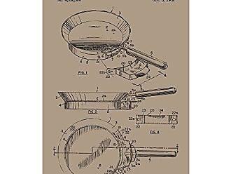 Inked and Screened SP_KITC_4,352,324_KR_17_K Frying Pan Silk Screen Print, 11 x 17 Kraft - Black Ink