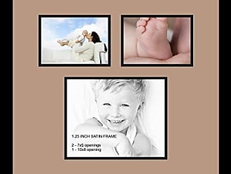 Art to Frames Double-Multimat-488-767/89-FRBW26079 Collage Photo Frame Double Mat with 1-8x10 and 2-5x7 Openings and Satin Black Frame