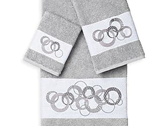 Linum Home Textiles Annabelle 3Pc Embellished Towel Set, Light Gray