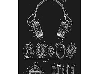 Inked and Screened SP_ADIO_4,302,635_BL_17_W Headphones Print, 11 x 17, Black Licorice-White Ink