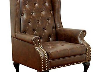 FURNITURE OF AMERICA Elmas Traditional Leatherette Wingback Chair, Rustic Brown