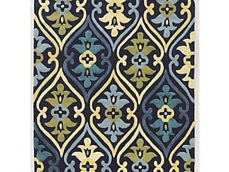Linon Linon Le Soleil Damask s Green Synthetic Rugs, 5 x 7, Blue