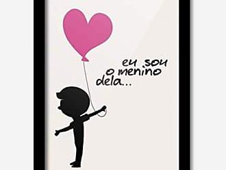 Los Quadros Quadro Decorativo Eu Sou o Menino Dela Coração Rosa 33cmx24cm Los Quadros Preto