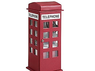 Ore International ORE International HBB1820 British Telephone Booth Leather Jewelry Box, Burgundy Red