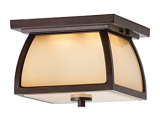 Feiss Wright House 9 2-Light LED Outdoor Flush Mount in Sorrel Brown