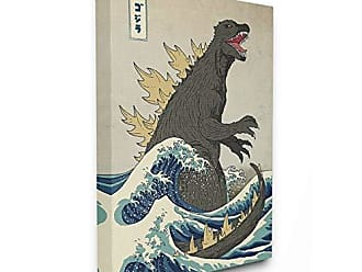 Stupell Industries The Stupell Home Decor Collection Godzilla in The Waves Eastern Poster Style Illustration Stretched Canvas Wall Art 30x40 Multi-Color
