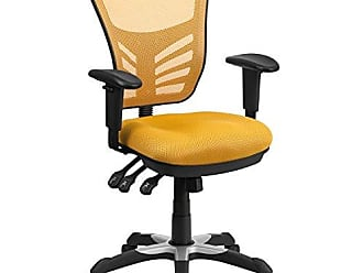 Flash Furniture Mid-Back Yellow-Orange Mesh Chair with Triple Paddle Control [HL-0001-YEL-GG]