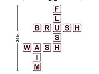 The Decal Guru Scrabble Bathroom Wall Decal (Burgundy, 24 (H) X 21 (W))