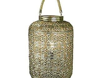 Benzara BM170685 Dazzling Metal Lantern with Rope Handle, Gold