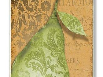 The Stupell Home Décor Collection The Stupell Home Decor Collection Green Pear Damask Kitchen Wall Plaque