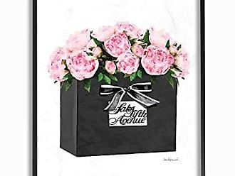 Stupell Industries The Stupell Home Décor Collection High End Black Shopping Bag Filled with Pink Peonies Framed Giclee Texturized Art, Multi-Color