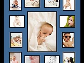 Art to Frames Double-Multimat-384-817/89-FRBW26079 Collage Photo Frame Double Mat with 1-9.5x13 and 12-4x5 Openings and Satin Black Frame