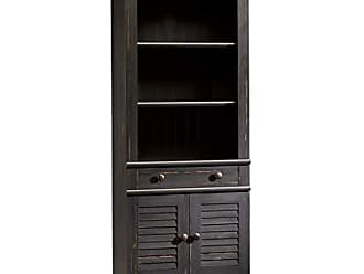 Sauder 401632 Harbor View Library with Doors, L: 27.21 x W: 17.48 x H: 72.24, Antiqued Paint finish
