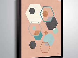Brushstone Abstract Geo III Pink by Veronique Charron Framed Canvas - 2CHA114A0810F