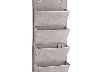 InterDesign Wall Mount/Over Door Fabric Closet Storage Clutch Purses, Handbags, Scarves, Linen Aldo Hanging 4-Pocket Organizer
