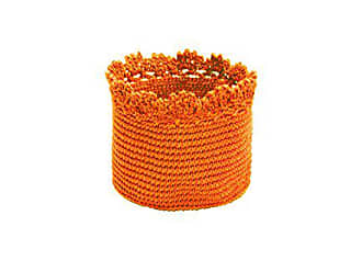 Heritage Lace Mode Crochet Basket with Trim, 6 by 4-Inch, Orange, Set of 2
