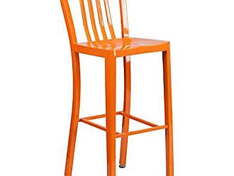 Flash Furniture 30 High Orange Metal Indoor-Outdoor Barstool with Vertical Slat Back
