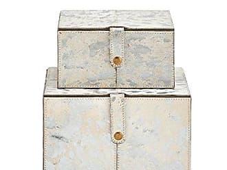 Deco 79 95031 Wood Leather Silver Box S/2 8, 10W, White/Silver