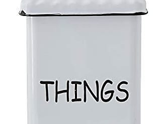 Creative Co-op Creative Co-op Things White & Black Lid & Black Rim Enameled Box, White
