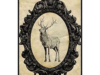Ptm Images Framed Elk Framed Canvas Wall Art Beige / Black - 9-115620