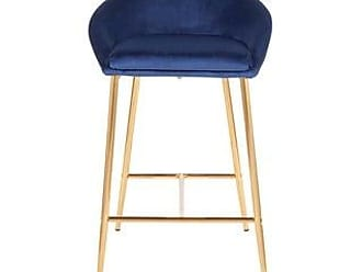 LumiSource Matisse Glam 26 Counter Stool in Gold & Velvet (Set of 2) (Blue Velvet/Gold)