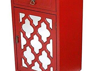 Heather Ann Creations Aria 1-Drawer, 1-Door Accent Cabinet with Arabesque Mirror inserts - Red