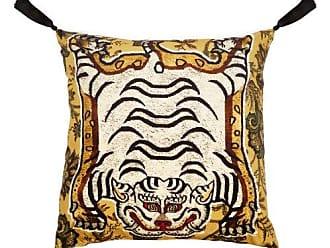 House of Hackney Tigris Print Velvet Cushion - Gold Multi