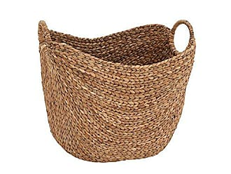 Benzara Handcrafted Rope Woven Seagrass Two Handles Basket, Brown
