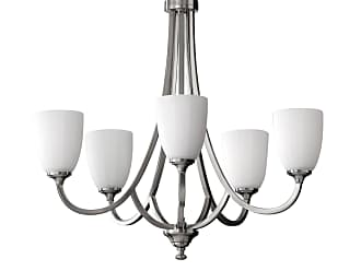 Feiss F2584/5BS Perry Chandelier in Brushed Steel finish with White Opal Etch Glass
