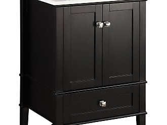 Simpli Home Chelsea 24 inch Bath Vanity in Black with White Engineered Quartz Marble Top