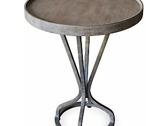 222 Fifth Vintage Round Accent End Table - 7019GY010AVH57