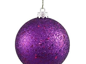 Queens of Christmas WL-ORN-BLKG-100-PU-W WL-ORN-BLKG-100-PU-W - 100mm Glitter Purple ball ornament w/wire