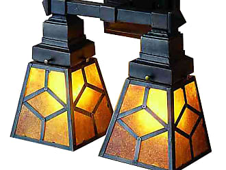 Meyda 27882 Amber Mica Diamond Mission 2 Lt Wall Sconce in Mahogany Bronze finish with Amber Mica