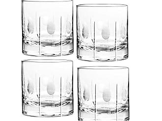Qualia Glass 3.75-Inch Gulfstream Double Old Fashioned High Glasses with Vertical Cuts and Circular Design, 9-Ounce, Set of 4