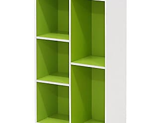 Furinno 5-Cube Reversible Open Shelf, White/Green 11069WH/GR