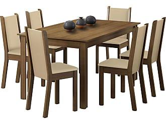 Madesa Sala de Jantar Madesa Tauany e 6 cadeiras Marrom