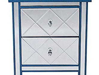 Heather Ann Creations Modern Beveled Mirrored Finished 2 Drawer Accent Chest Nightstand, 20 x 13 x 26, Blue