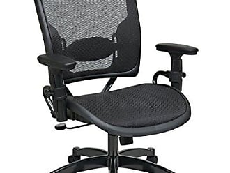 Office Star SPACE Seating Deluxe AirGrid Dark Back and Seat, 2-to-1 Synchro Tilt Control, Adjustable Arms, Tilt Tension and Lumbar Support with Gunmetal Finish Base Managers Chair
