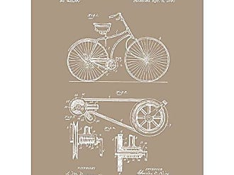 Inked and Screened SP_Vint_425,390_KR_24_W Vintage Inventions Bicycle-C. Rice-1890 Print, 18 x 24 Kraft - White Ink