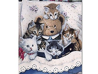 Trademark Global Kittens And Teddy Bear by Jenny Newland, 18x24-Inch Canvas Wall Art