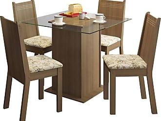 Madesa Sala De Jantar Madesa Base De Madeira Com Tampo De Vidro E 4 Cadeiras Lucy - Rústico E Liro Bege