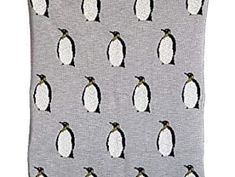 Creative Co-op Creative Co-op Cotton Knit Baby Blanket with Penguins, 40 L x 32 W, Grey