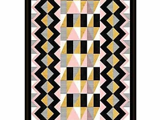 EAZL Triangles Chevron Pattern and Stripes Modern Contemporary Trendy Abstract Painting Black & Pink, Framed Canvas Art by Pied Piper Creative