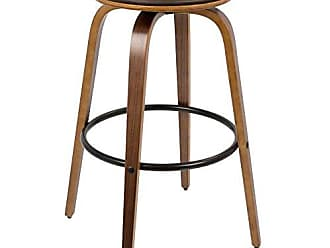 LumiSource WOYBR BS-PRT WL+BN2 Wood, Pu Leather, Metal Porto Bar Stools Set of 2