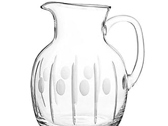 Qualia Glass Gulfstream 8.75-Inch Glass Pitcher with Vertical Cuts and Circular Design, 86-Ounce, Clear