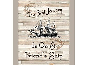 Trendy Decor 4 U Trendy Decor4U ME30A-779SS Friendship Journey by Millwork Engineering Ready to Hang Print with Sand Frame, Earthtone