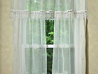 Violet Linen Daisy Design Sheer 3 Piece Kitchen Curtain Set, 18 x 60, Beige